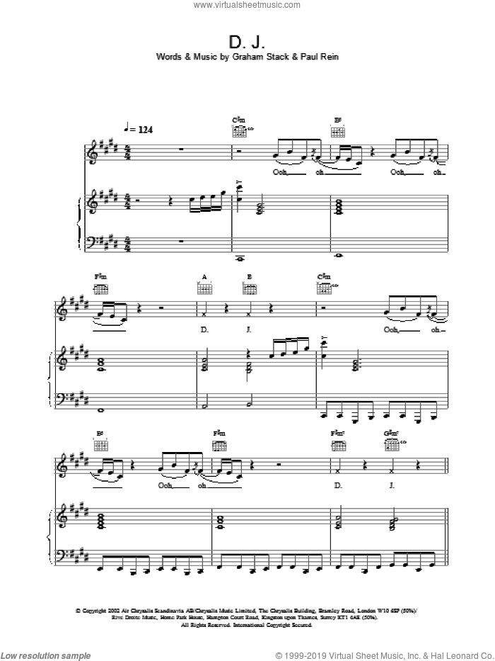 D.J. sheet music for voice, piano or guitar by Paul Rein