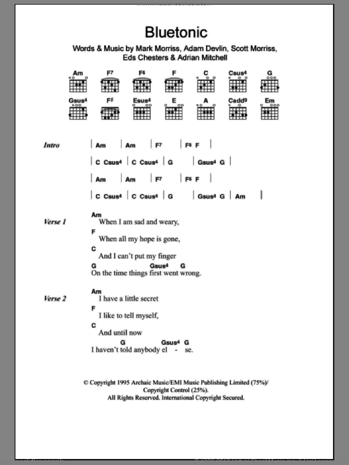 Bluetonic sheet music for guitar (chords) by The Bluetones, intermediate guitar (chords). Score Image Preview.