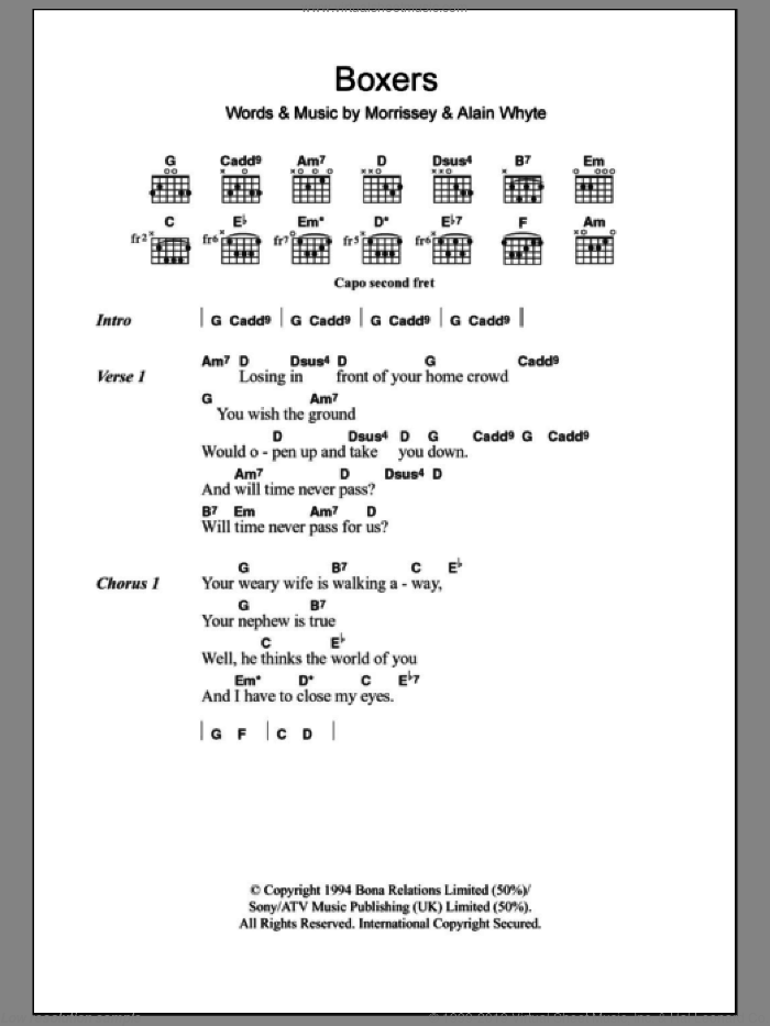 Boxers sheet music for guitar (chords) by Steven Morrissey and Alain Whyte, intermediate skill level