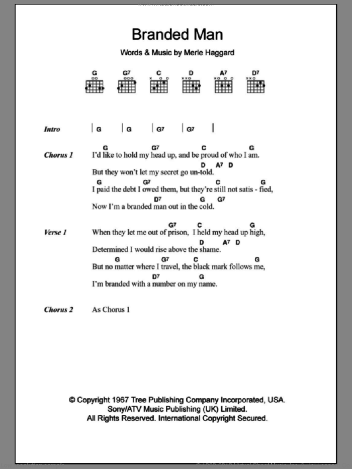 Branded Man sheet music for guitar (chords) by Merle Haggard