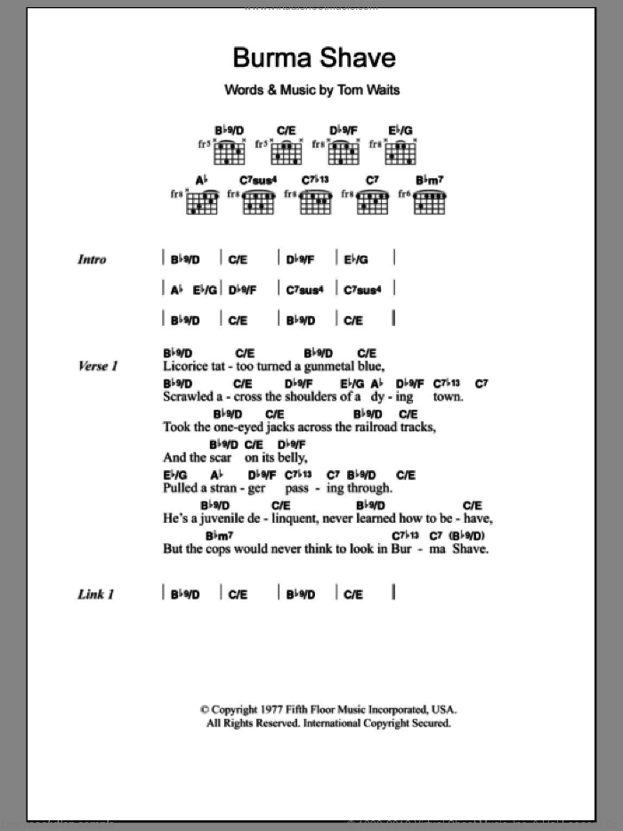 Burma Shave sheet music for guitar (chords) by Tom Waits. Score Image Preview.