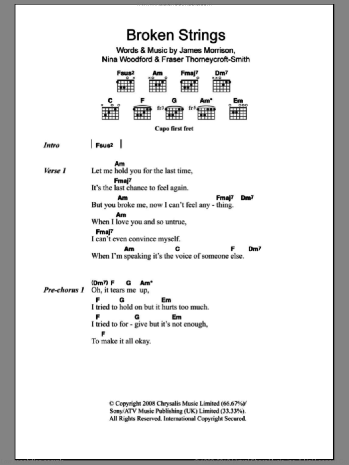 Broken Strings sheet music for guitar (chords) by Nina Woodford, Fraser Thorneycroft-Smith and James Morrison. Score Image Preview.