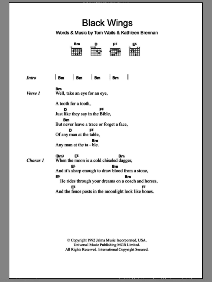 Black Wings sheet music for guitar (chords) by Kathleen Brennan and Tom Waits. Score Image Preview.