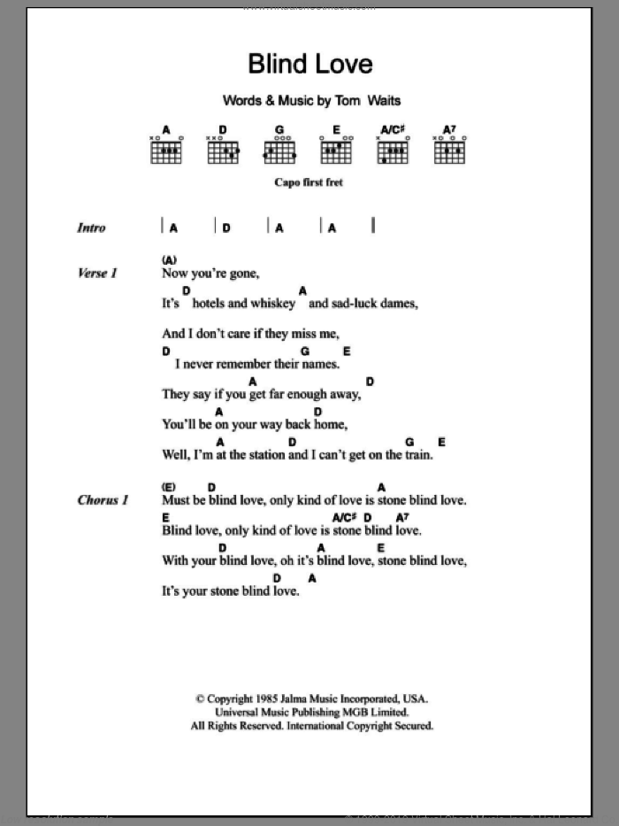 Blind Love sheet music for guitar (chords) by Tom Waits. Score Image Preview.