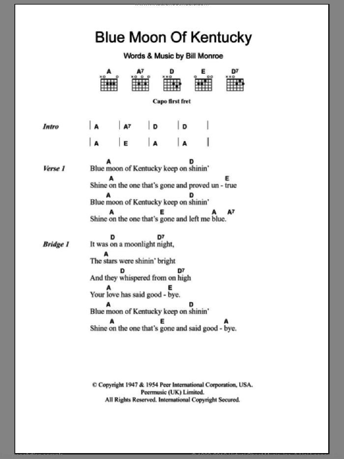 Blue Moon Of Kentucky sheet music for guitar (chords) by Patsy Cline and Bill Monroe, intermediate skill level