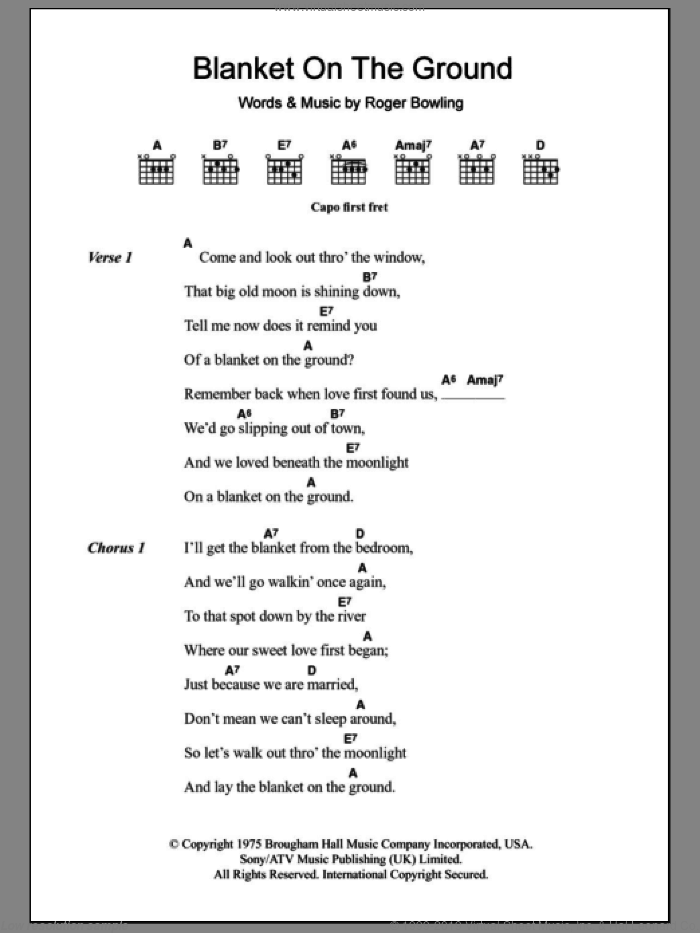 Blanket On The Ground sheet music for guitar (chords, lyrics, melody) by Roger Bowling
