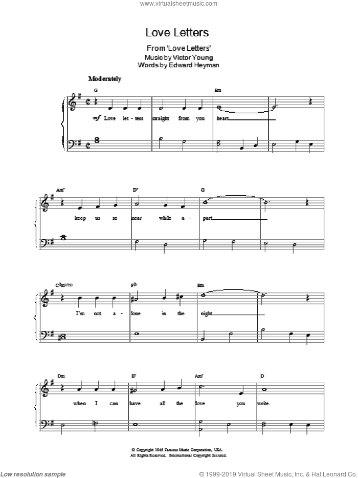 Love Letters sheet music for piano solo by Edward Heyman, Elvis Presley and Victor Young, easy skill level