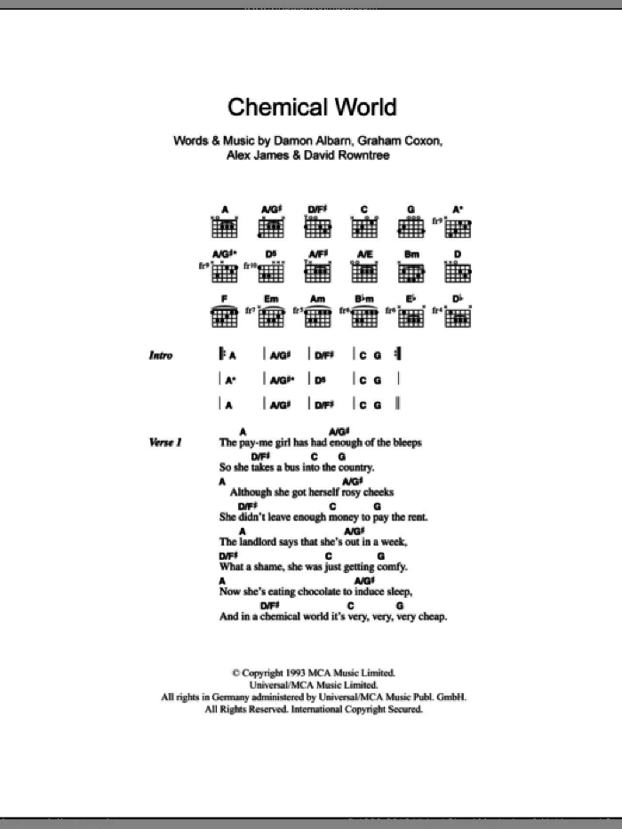 Chemical World sheet music for guitar (chords) by Graham Coxon, Blur, Alex James and Damon Albarn