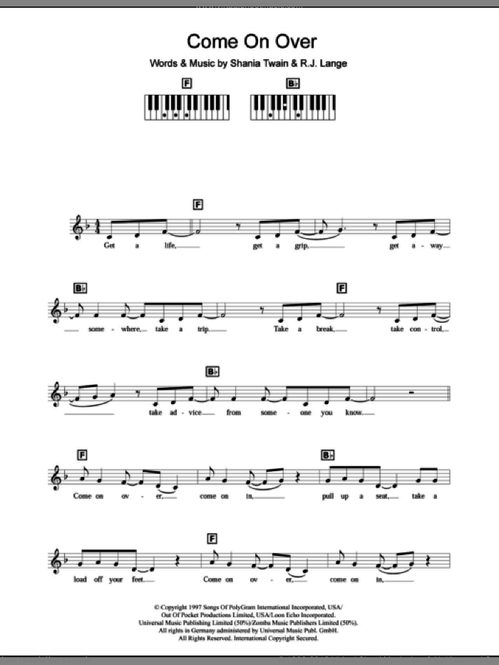 Come On Over sheet music for piano solo (chords, lyrics, melody) by Shania Twain and Robert John Lange, intermediate piano (chords, lyrics, melody)