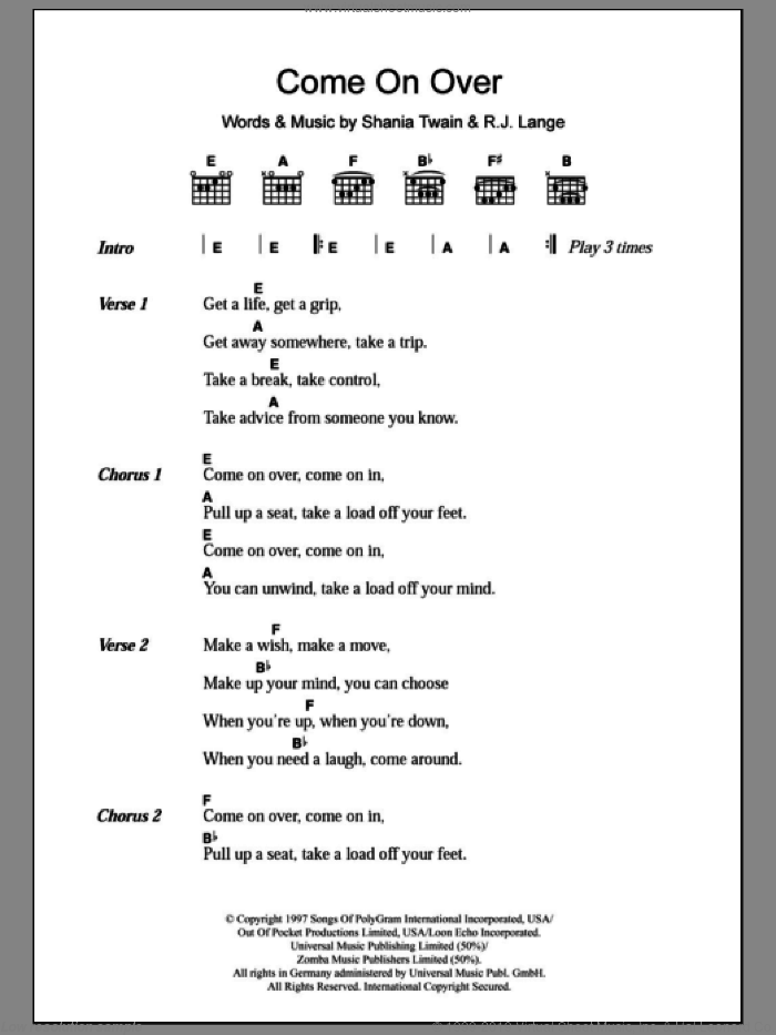 Come On Over sheet music for guitar (chords, lyrics, melody) by Robert John Lange