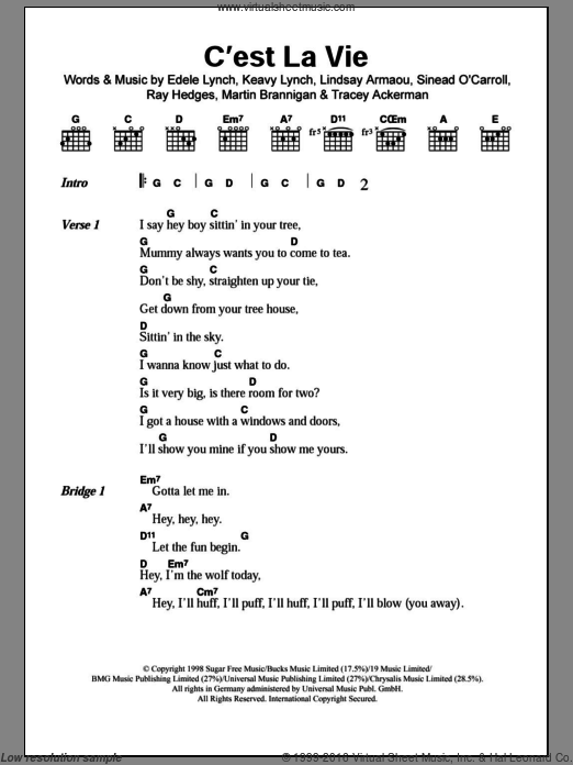 C'est La Vie sheet music for guitar (chords, lyrics, melody) by Tracy Ackerman