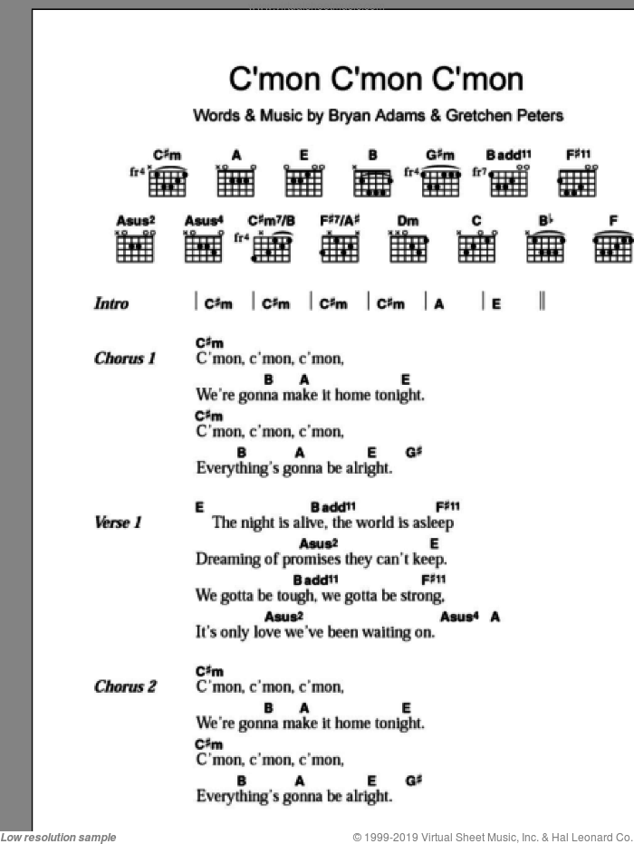C'mon C'mon C'mon sheet music for guitar (chords) by Bryan Adams and Gretchen Peters, intermediate. Score Image Preview.