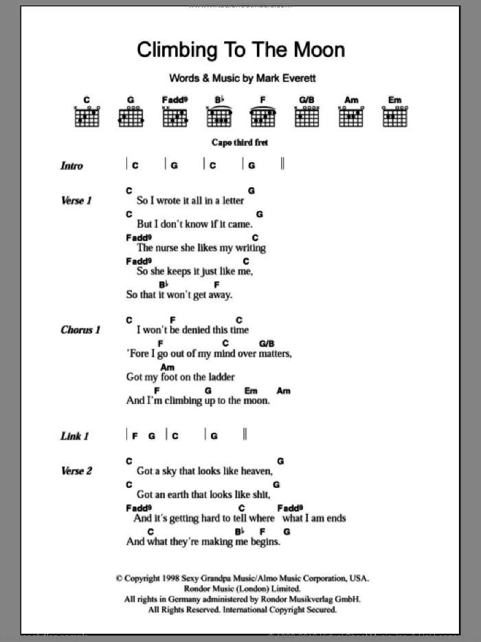 Climbing To The Moon sheet music for guitar (chords, lyrics, melody) by Mark Everett