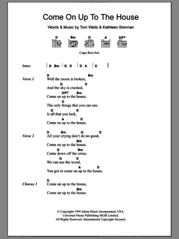 Come On Up To The House sheet music for guitar (chords) by Tom Waits and Kathleen Brennan, intermediate