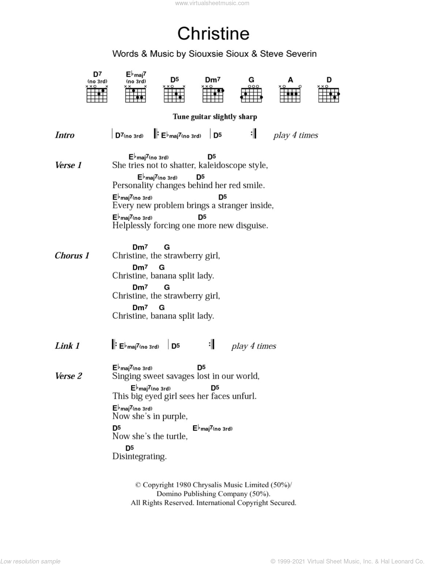 Christine sheet music for guitar (chords) by Siouxsie & The Banshees, Siouxsie Sioux and Steve Severin, intermediate
