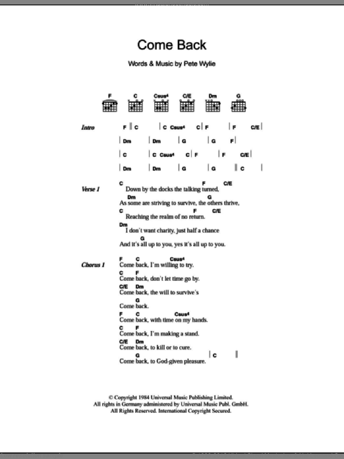 Come Back sheet music for guitar (chords) by Pete Wylie