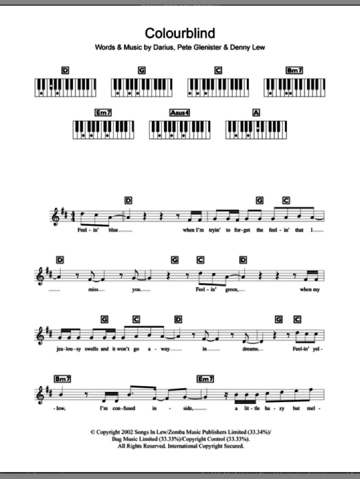 Colourblind sheet music for piano solo (chords, lyrics, melody) by Pete Glenister