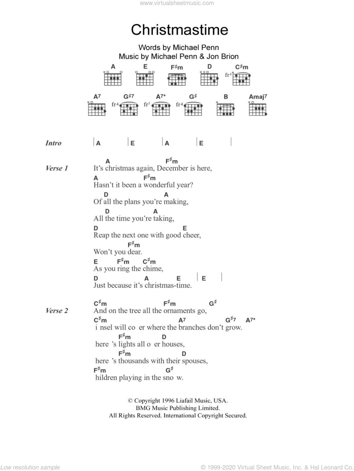 Christmastime sheet music for guitar (chords) by Aimee Mann, Jon Brion and Michael Penn, intermediate skill level