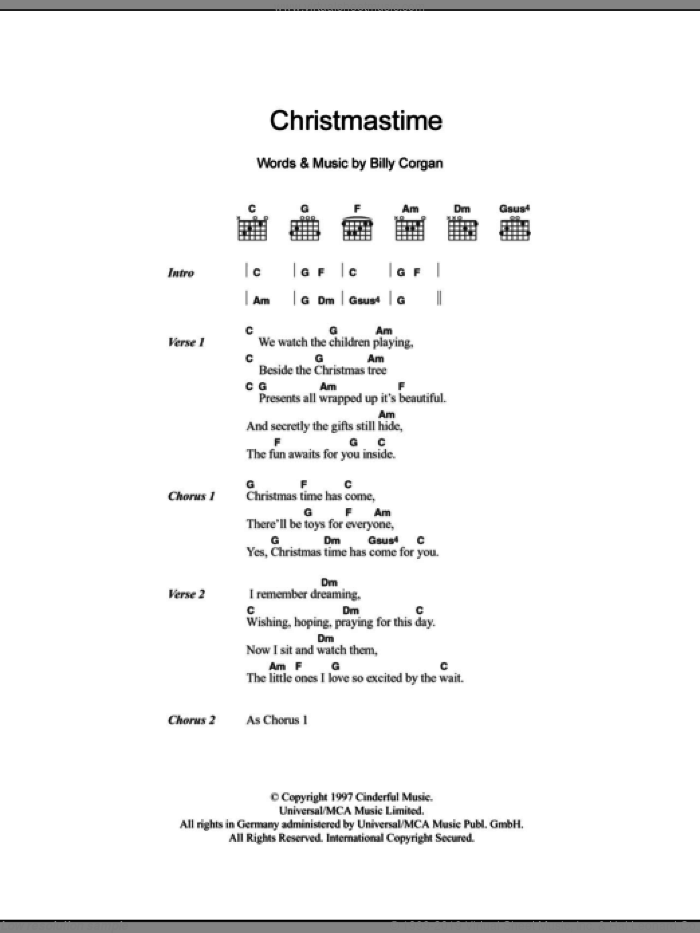 Christmastime sheet music for guitar (chords, lyrics, melody) by Billy Corgan