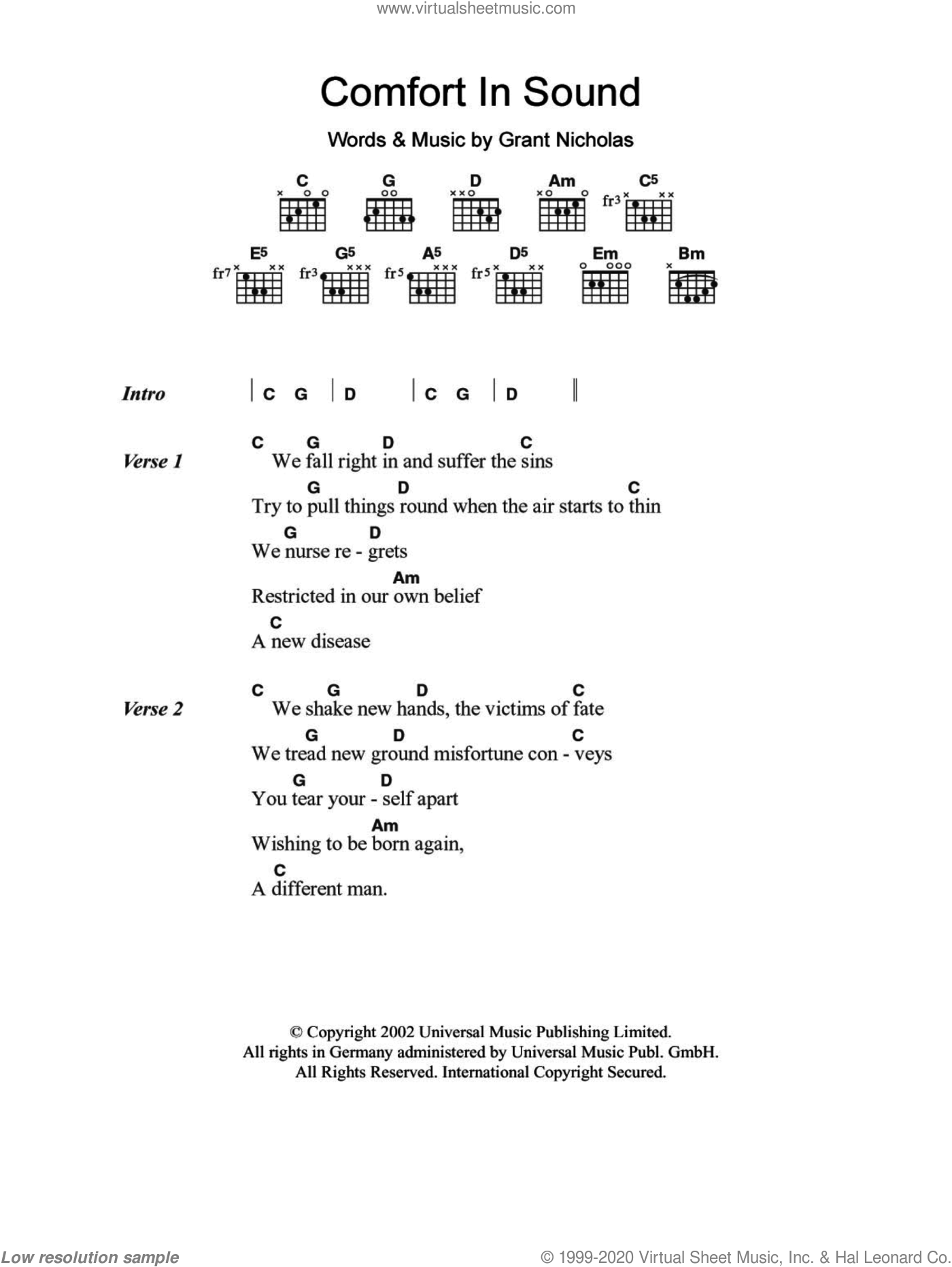 Comfort In Sound sheet music for guitar (chords) by Grant Nicholas and Feeder. Score Image Preview.