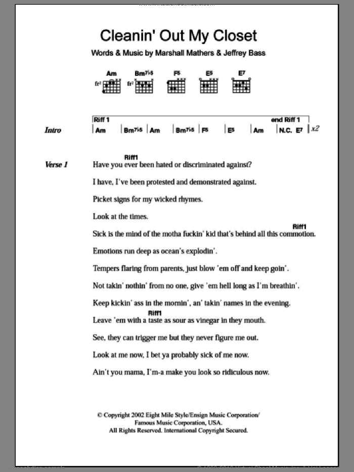 Cleanin' Out My Closet sheet music for guitar (chords) by Eminem and Marshall Mathers, intermediate. Score Image Preview.