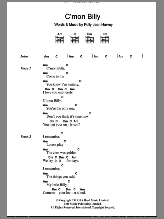 C'mon Billy sheet music for guitar (chords) by Polly Jean Harvey, intermediate. Score Image Preview.