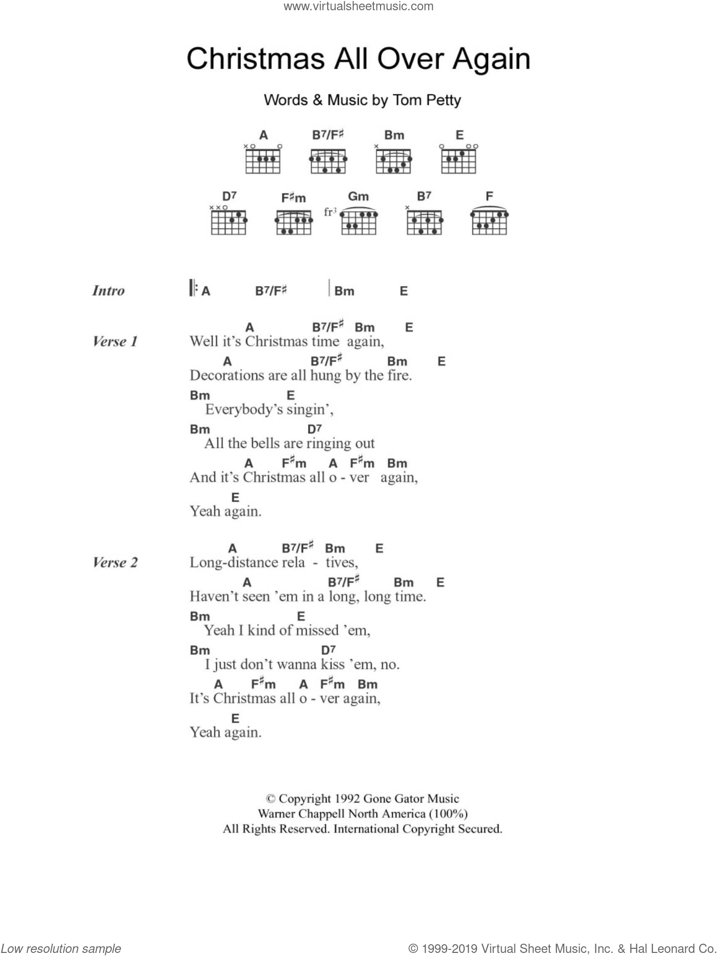 Christmas All Over Again sheet music for guitar (chords) by Tom Petty. Score Image Preview.