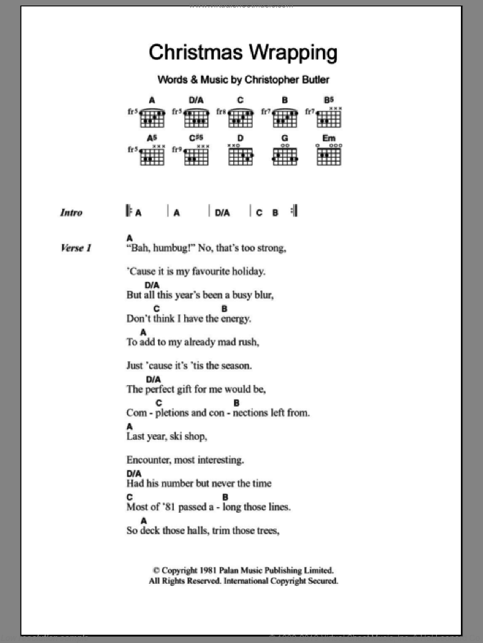 Christmas Wrapping sheet music for guitar (chords) by Christopher Butler. Score Image Preview.