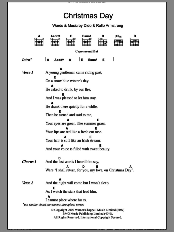 Christmas Day sheet music for guitar (chords) by Dido Armstrong and Rollo Armstrong, intermediate guitar (chords). Score Image Preview.
