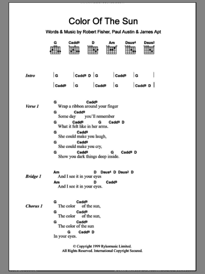 Color Of The Sun sheet music for guitar (chords) by Willard Grant Conspiracy, James Apt, Paul Austin and Rob Fisher, intermediate skill level