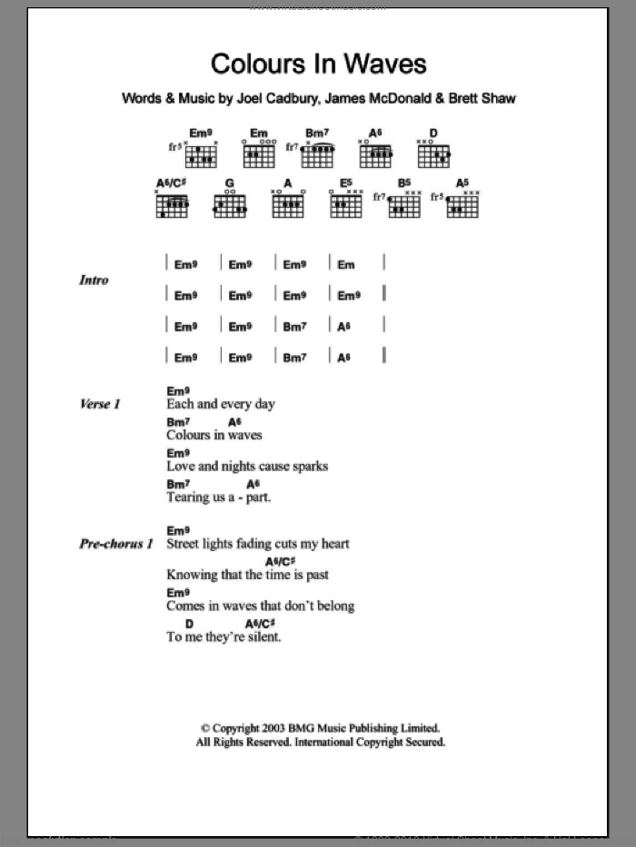 Colours In Waves sheet music for guitar (chords, lyrics, melody) by Joel Cadbury
