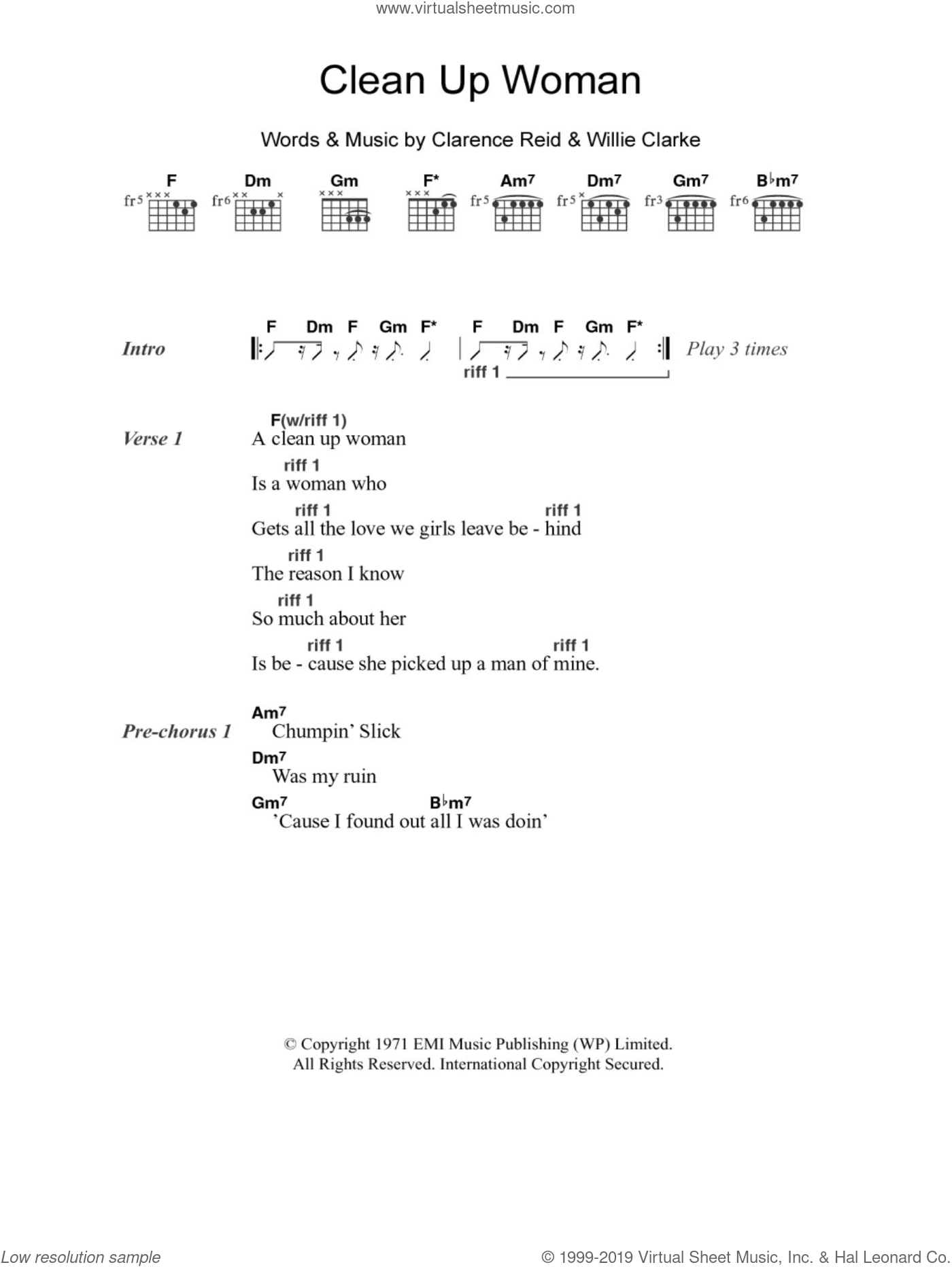 Clean Up Woman sheet music for guitar (chords, lyrics, melody) by Willie Clarke