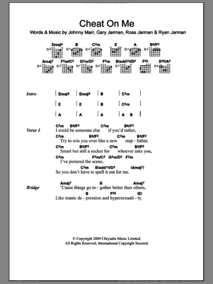 Cheat On Me sheet music for guitar (chords) by The Cribs, Gary Jarman, Johnny Marr, Ross Jarman and Ryan Jarman, intermediate skill level