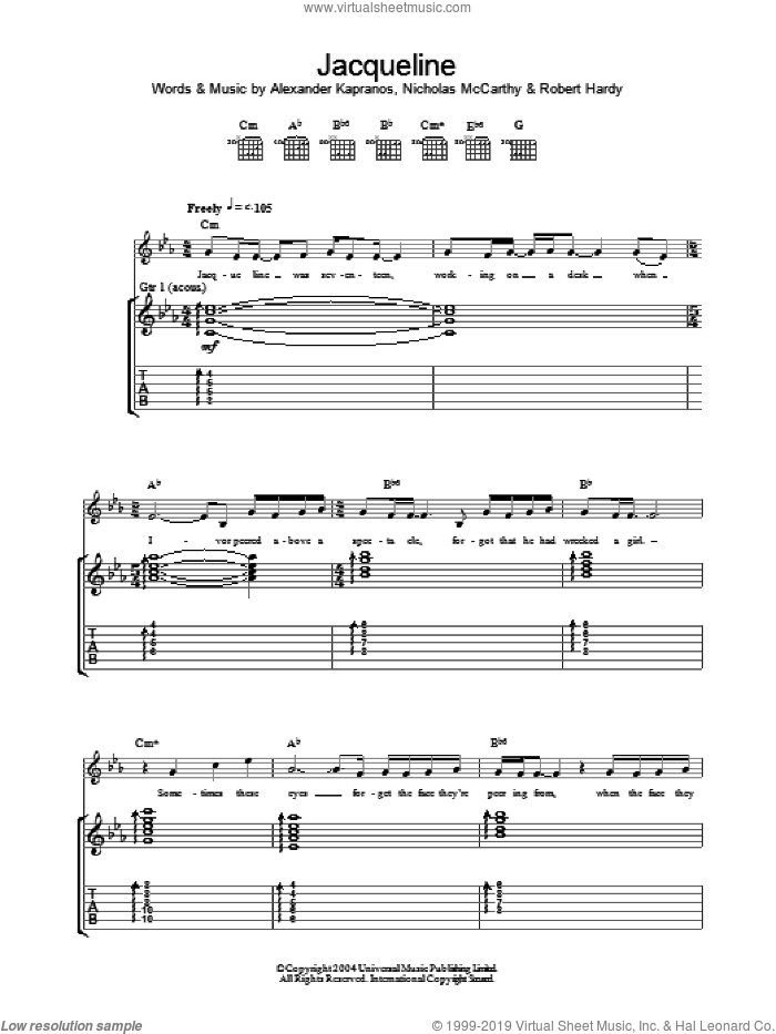 Jacqueline sheet music for guitar (tablature) by Franz Ferdinand. Score Image Preview.