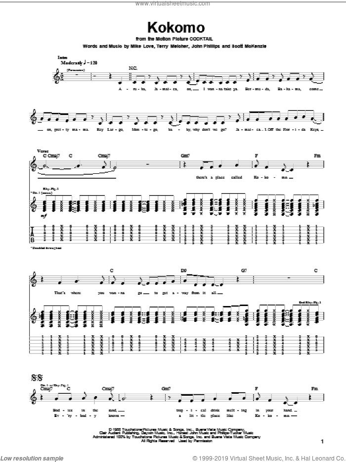 Kokomo sheet music for guitar (tablature) by The Beach Boys, John Phillips, Mike Love and Scott McKenzie, intermediate skill level