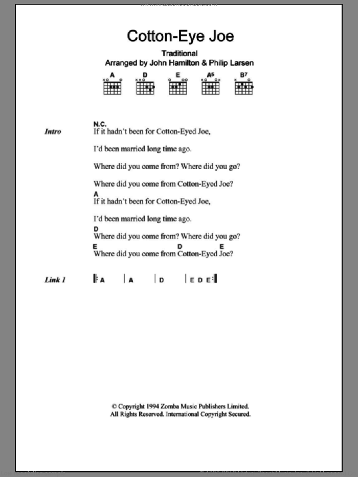 Cotton-Eye Joe sheet music for guitar (chords)