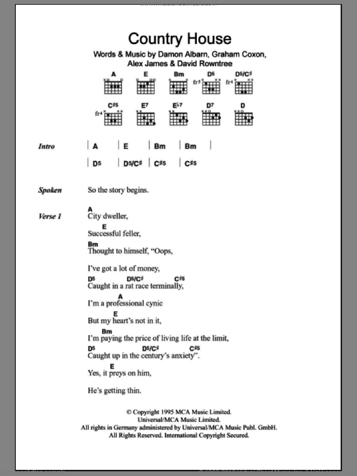 Country House sheet music for guitar (chords) by Blur, Alex James, Damon Albarn, David Rowntree and Graham Coxon, intermediate skill level