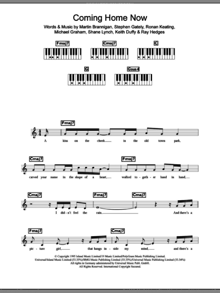 Coming Home Now sheet music for piano solo (chords, lyrics, melody) by Boyzone, Ronan Keating and Stephen Gately, intermediate piano (chords, lyrics, melody). Score Image Preview.