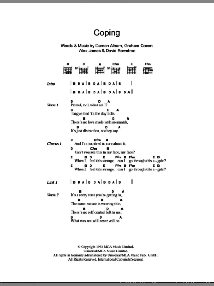 Coping sheet music for guitar (chords) by Blur, Alex James, Damon Albarn, David Rowntree and Graham Coxon, intermediate skill level