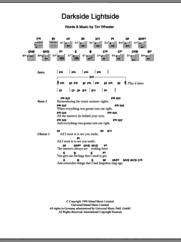 Darkside Lightside sheet music for guitar (chords) by Tim Wheeler, intermediate. Score Image Preview.