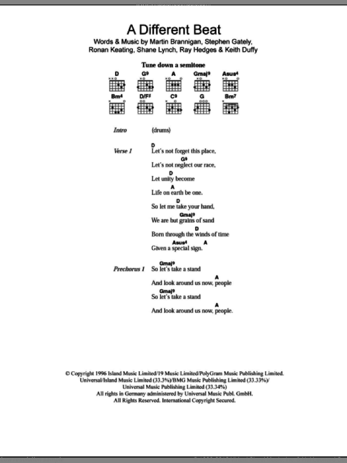 Boyzone - A Different Beat sheet music for guitar (chords) [PDF]