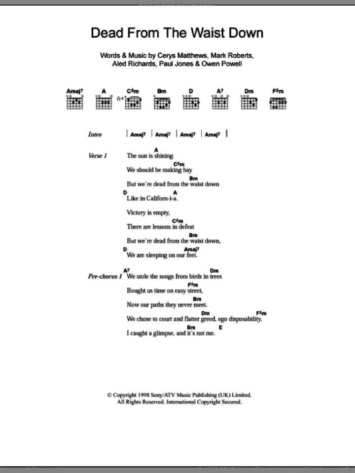 Dead From The Waist Down sheet music for guitar (chords) by Catatonia, intermediate guitar (chords). Score Image Preview.