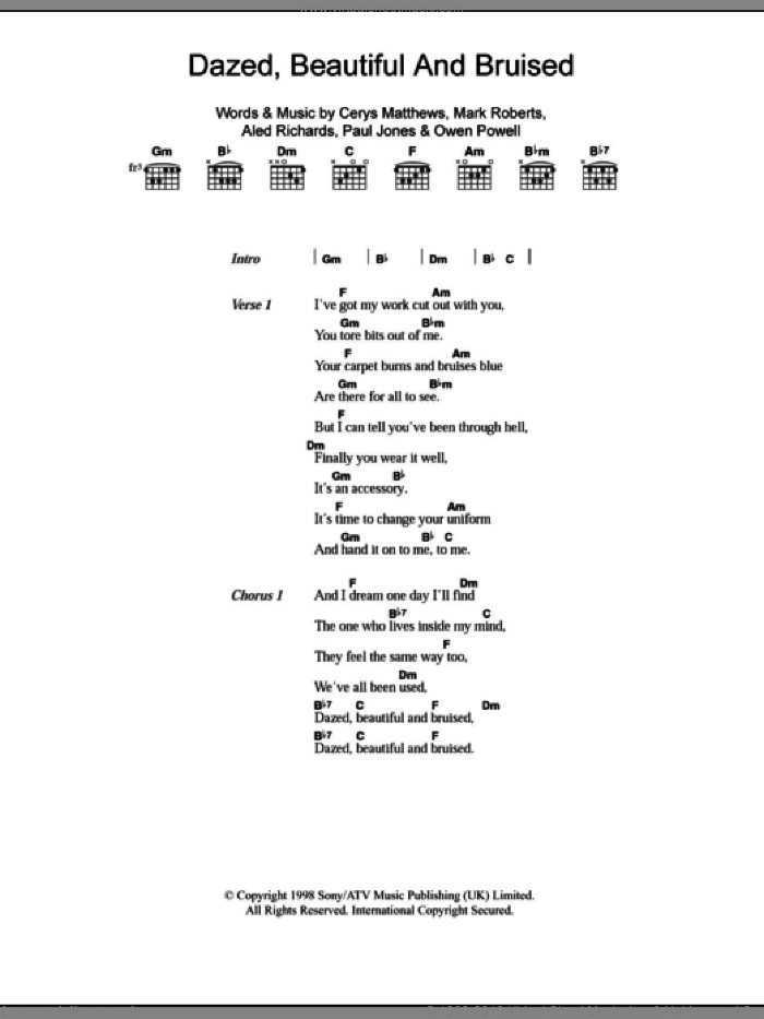 Dazed, Beautiful And Bruised sheet music for guitar (chords) by Paul Jones, Catatonia, Aled Richards and Mark Roberts. Score Image Preview.
