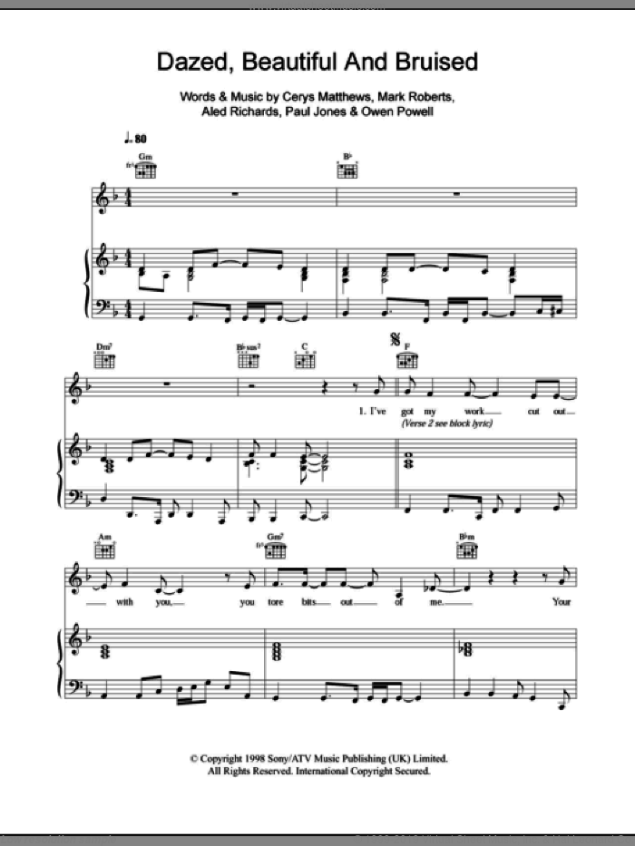 Dazed, Beautiful And Bruised sheet music for voice, piano or guitar by Paul Jones, Catatonia, Aled Richards and Mark Roberts. Score Image Preview.