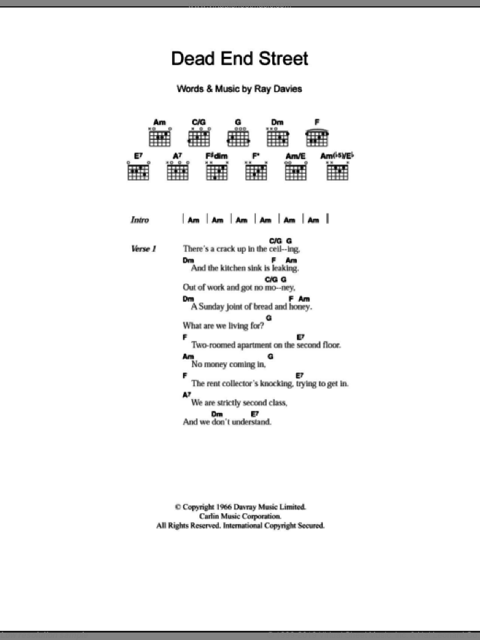 Dead End Street sheet music for guitar (chords) by The Kinks and Ray Davies, intermediate. Score Image Preview.