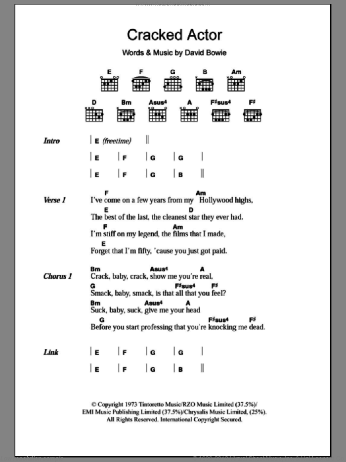 Bowie - Cracked Actor sheet music for guitar (chords) [PDF]
