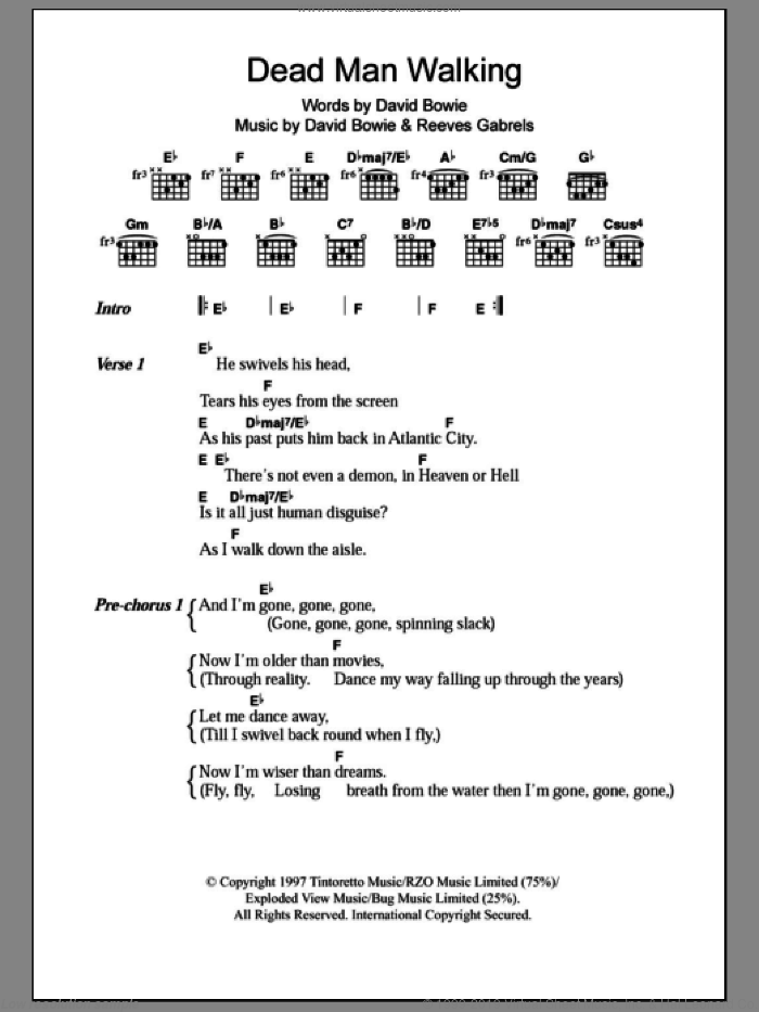 Dead Man Walking sheet music for guitar (chords) by David Bowie. Score Image Preview.