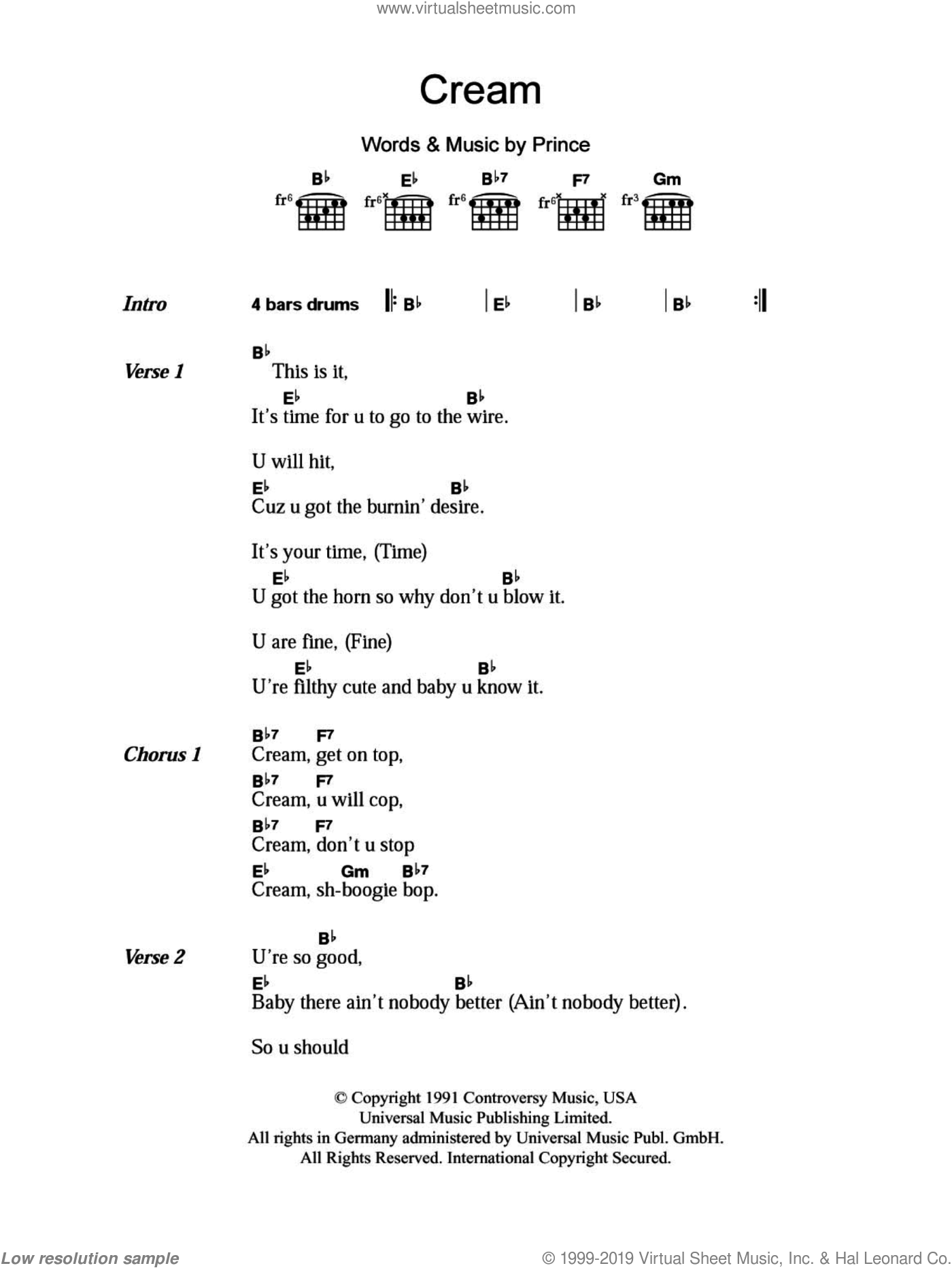 Cream sheet music for guitar (chords, lyrics, melody) by Prince