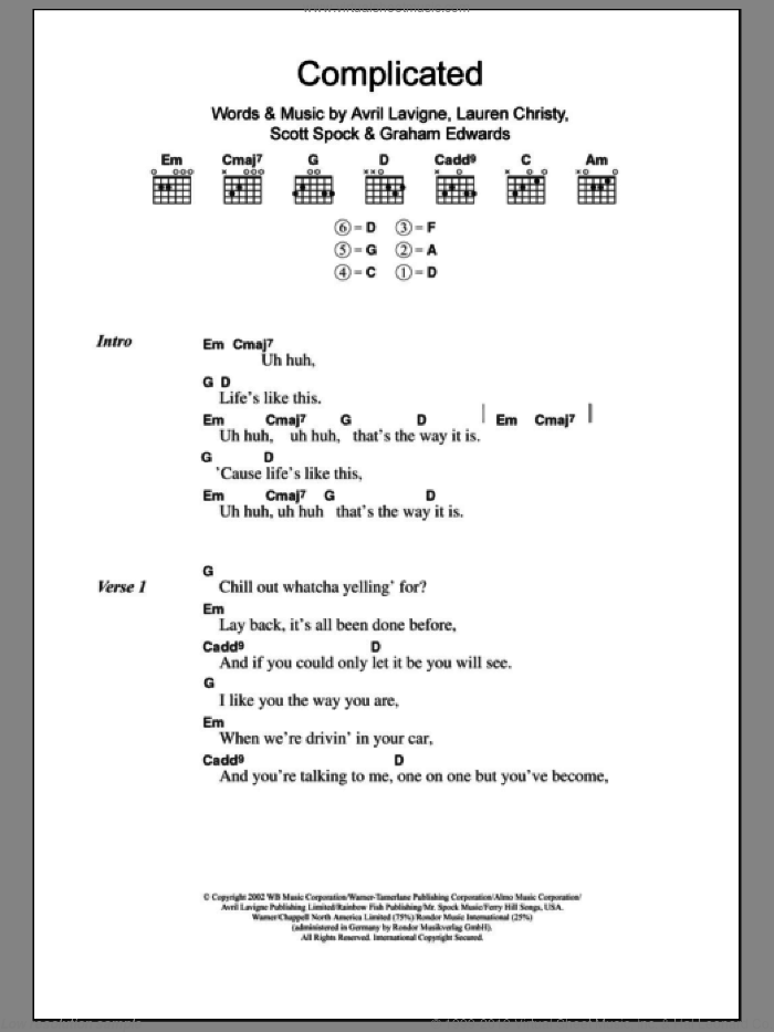 Complicated sheet music for guitar (chords) by Avril Lavigne, intermediate guitar (chords). Score Image Preview.