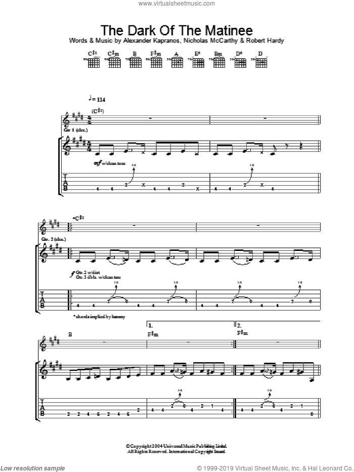 The Dark Of The Matinee sheet music for guitar (tablature) by Franz Ferdinand, Alexander Kapranos, Nicholas McCarthy and Robert Hardy, intermediate